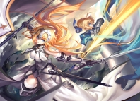 Konachan.com - 212935 2girls aqua_eyes armor blonde_hair blue_eyes dress fate_stay_night gloves headdress kousaki_rui long_hair saber sword thighhighs weapon
