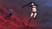 Konachan.com - 213005 aliasing armor black_hair boots daye_bie_qia_lian kneehighs league_of_legends long_hair navel pointed_ears red_eyes shorts twintails weapon