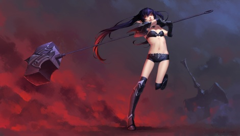 Konachan.com - 213005 aliasing armor black_hair boots daye_bie_qia_lian kneehighs league_of_legends long_hair navel pointed_ears red_eyes shorts twintails weapon