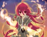 Konachan.com - 213120 cropped fire itou_noiji necklace red_eyes red_hair seifuku shakugan_no_shana shana sketch skirt sword weapon