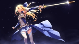 Konachan.com - 213299 blonde_hair green_eyes long_hair murakami_suigun original sword thighhighs weapon