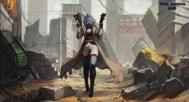 Konachan.com - 213466 aqua_eyes blue_hair boots breasts cleavage gloves gods gun hoodie mask pixiv_fantasia ruins shorts thighhighs watermark weapon zettai_ryouiki