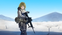 Konachan.com - 213498 aqua_eyes blonde_hair call_of_duty gloves gun hoodie kumamon original short_hair snow weapon