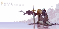 Konachan.com - 213507 armor blonde_hair cape fate_stay_night forte hoodie saber sword water weapon