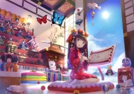 Konachan.com - 213530 fish headdress katana liclac long_hair mask original paper sky socks sword weapon wristwear yukata