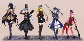 Konachan.com - 213585 gray_hair group gun hat long_hair military original ponytail red_eyes scarf shorts skirt tie uniform weapon