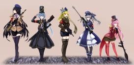 Konachan.com - 213585 gray_hair group gun hat long_hair military original ponytail red_eyes scarf shorts skirt tie uniform weapon