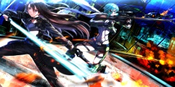 Konachan.com - 213805 aircraft aqua_eyes aqua_hair brown_hair city fire gloves gun long_hair male purple_eyes scarf short_hair shorts sword swordsouls trap weapon