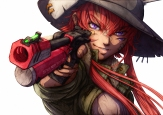 Konachan.com - 213828 bandaid gun hat imizu_(nitro_unknown) long_hair original pink_eyes red_hair weapon white