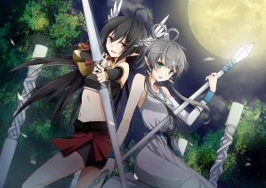 Konachan.com - 213834 cross gray_hair green_eyes long_hair luo_tianyi moon necklace pointed_ears red_eyes spear vocaloid weapon whiisky