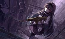 Konachan.com - 213921 akemi_homura bow gun haraguroi_you headband long_hair mahou_shoujo_madoka_magica pantyhose polychromatic rain red_eyes skirt water weapon