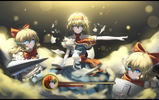 Konachan.com - 214016 alice_margatroid blonde_hair blue_eyes book bow doll hk_(zxd0554) jpeg_artifacts mage paper shanghai_doll short_hair touhou weapon