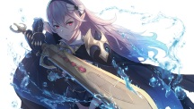 Konachan.com - 214463 armor cape fire_emblem headband kachi long_hair my_unit_(fire_emblem) pink_hair pointed_ears red_eyes sword water weapon white