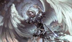 Konachan.com - 214677 armor kusi_de_san_gu original sword weapon wings