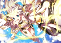 Konachan.com - 214753 aqua_eyes blonde_hair elsword vilor weapon wings