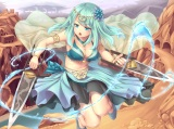 Konachan.com - 214834 aqua_eyes aqua_hair breasts choker cleavage desert magic navel original panties sand-rain skirt underwear water weapon wristwear