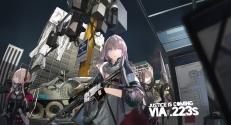 Konachan.com - 214892 city combat_vehicle girls_frontline gloves group gun lin+ night pink_hair weapon (1)