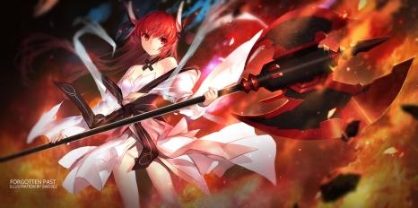 Konachan.com - 215117 date_a_live fire itsuka_kotori japanese_clothes lolita_fashion long_hair red_eyes red_hair swd3e2 weapon