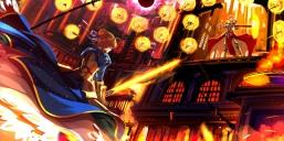 Konachan.com - 215213 armor blonde_hair blue_eyes cape chain fate_stay_night fire gilgamesh gloves male saber spear sword swordsouls weapon