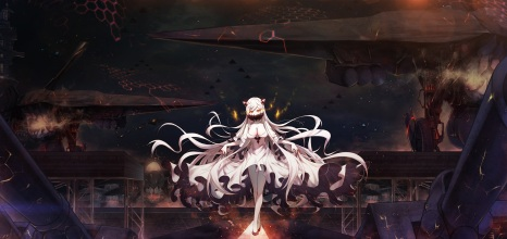 Konachan.com - 216062 aircraft boyogo breasts cleavage dress kantai_collection long_hair midway_hime white_hair