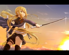 Konachan.com - 222500 blonde_hair clouds kantai_collection long_hair satsuki_(kancolle) sunset sword thighhighs tr-6 twintails weapon yellow_eyes