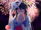 Konachan.com - 222513 @ichigo black_hair blush candy cropped festival fireworks haruna_(kancolle) headdress japanese_clothes long_hair mask night summer yukata
