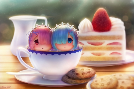 Konachan.com - 224369 aqua_eyes aqua_hair cake chibi dej_(shiori2525) food fruit headdress pink_hair ram_(re-zero) red_eyes rem_(re-zero) short_hair signed strawberry twins
