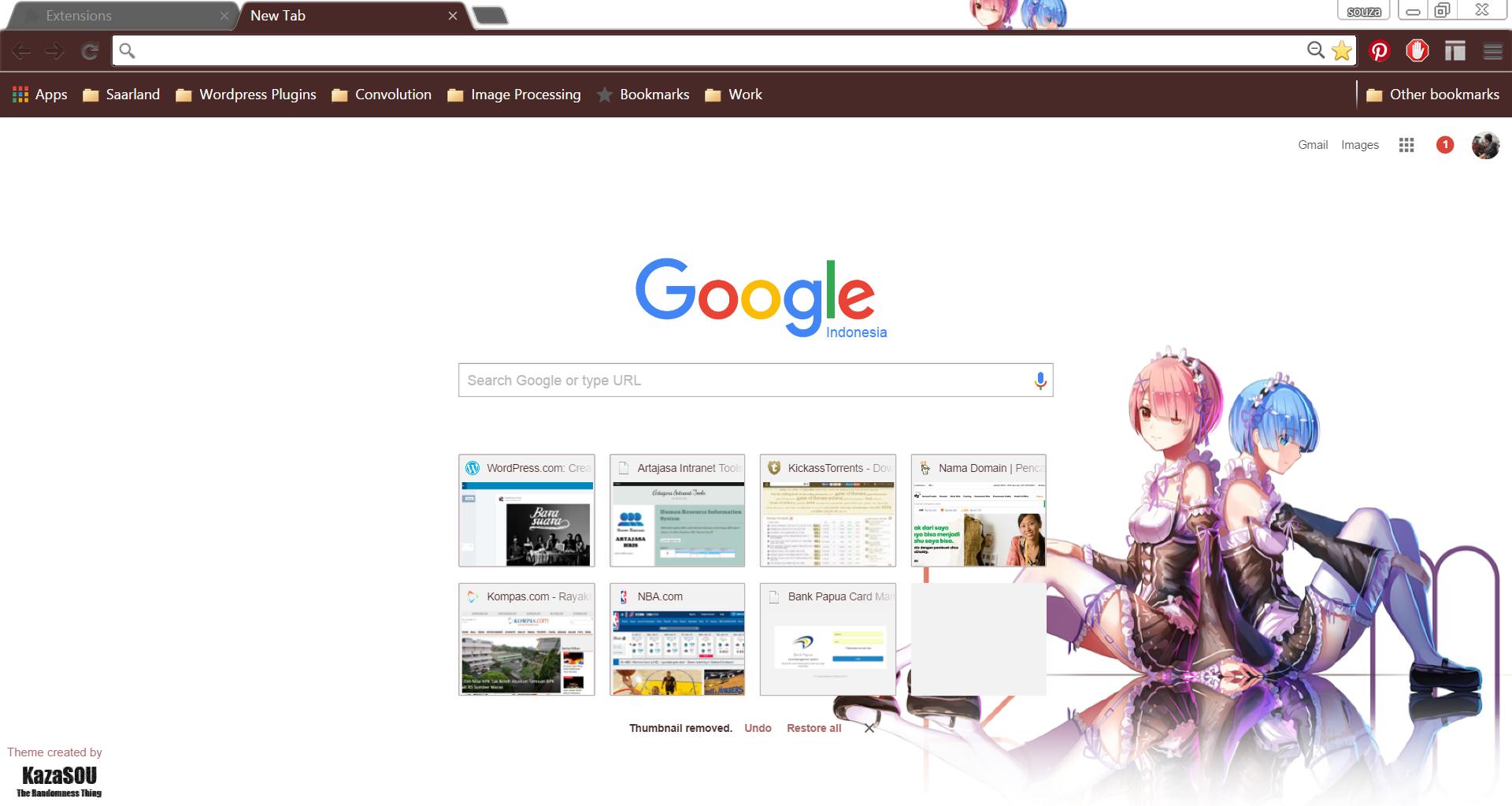 Google themes kawaii - Skin Name Ram X Rem 2