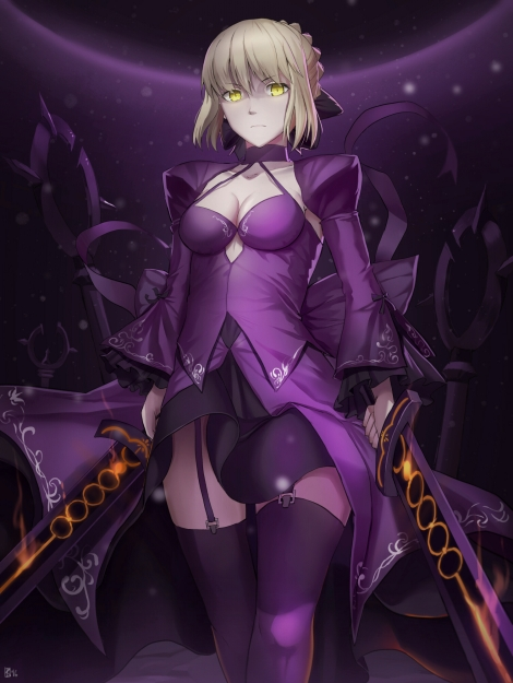 yande.re 357192 cleavage dress fate_grand_order fate_stay_night kakekcaboel saber saber_alter stockings sword thighhighs
