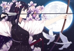 Konachan.com - 215714 animal bird black_hair blue_eyes bow_(weapon) caidychen flowers gloves katana long_hair moon night original petals stars sword weapon