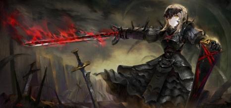 Konachan.com - 217861 armor fate_(series) fate_stay_night hong saber saber_alter sword weapon yellow_eyes