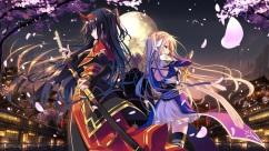 Konachan.com - 217917 headdress horns katana long_hair male military original ponytail red_eyes short_hair sword uniform weapon
