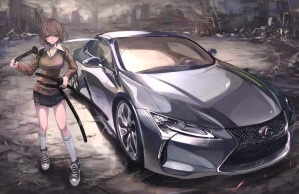 Konachan.com - 218512 brown_eyes brown_hair car katana kneehighs original ruins short_hair sword terabyte_(rook777) weapon