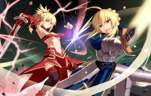 Konachan.com - 219117 2girls armor blonde_hair fate_(series) green_eyes hirame_sa long_hair magic mordred navel ponytail saber sword thighhighs underboob weapon