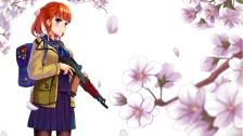 Konachan.com - 219454 flowers gun headphones mizuki_ame orange_hair original petals purple_eyes short_hair twintails weapon