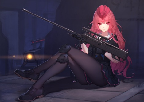 Konachan.com - 226763 girls_frontline gloves gun hat long_hair night pantyhose pink_eyes pink_hair seifuku thank_star weapon
