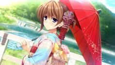 konachan-com-200025-asami_asami-brown_hair-game_cg-grass-hayase_chitose-headdress-hibiki_works-kimono-landscape-purple_eyes-scenic-tree-umbrella-water-waterfall