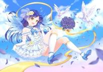 konachan-com-200542-animal-bird-choker-dress-elbow_gloves-flowers-garter-garter_belt-idolmaster-kisaragi_chihaya-kneehighs-long_hair-petals-rose-sky-wings-wristwear