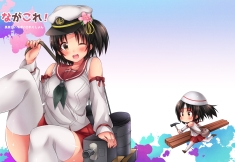 konachan-com-226041-black_hair-blush-brown_eyes-chibi-hat-kantai_collection-nagara_kancolle-ponytail-seifuku-short_hair-sk02-thighhighs-wink-zettai_