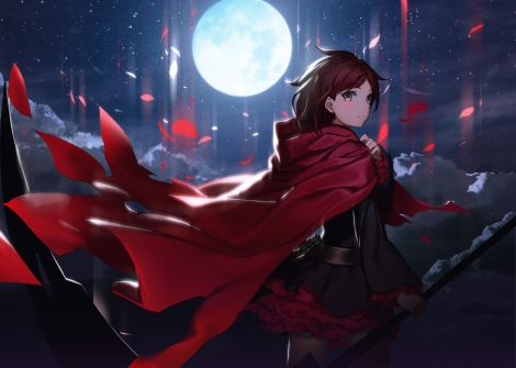 konachan-com-226894-black_hair-cape-dress-gray_eyes-izumi_sai-moon-night-pantyhose-petals-ruby_rose-rwby-scythe-short_hair-weapon
