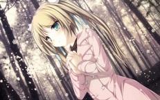 konachan-com-200862-blonde_hair-blush-forest-green_eyes-hisagihara_ui-long_hair-ribbons-snow-suzukaze_no_melt-tenmaso-tree-twintails