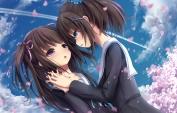 konachan-com-200891-apple228-blue_eyes-blush-brown_hair-cherry_blossoms-long_hair-original-petals-pink_eyes-ponytail-ribbons-seifuku-shoujo_ai-twintails