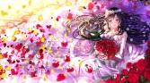 konachan-com-200920-black_hair-blue_eyes-elbow_gloves-flowers-headdress-hiratsuka_shizuka-long_hair-petals-rose-swordsouls-wedding_attire