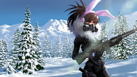 konachan-com-229063-armor-bodysuit-brown_hair-earmuffs-gloves-gun-landscape-long_hair-mask-original-ponytail-scenic-signed-snow-soki-tree-weapon-winter-wristwear