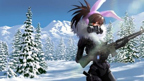 konachan-com-229063-armor-bodysuit-brown_hair-earmuffs-gloves-gun-landscape-long_hair-mask-original-ponytail-scenic-signed-snow-soki-tree-weapon-winter-wristwear