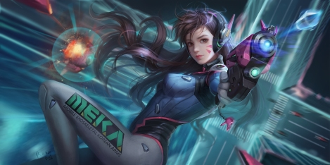 konachan-com-229934-bodysuit-breasts-brown_eyes-brown_hair-d-va-gun-headphones-long_hair-overwatch-realistic-signed-skintight-tagme_artist-tattoo-weapon