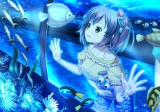 konachan-com-201443-33paradox-animal-blue-bubbles-fish-original-polychromatic-shorts-twintails-underwater-water-wristwear-yellow_eyes