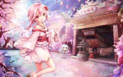 konachan-com-201595-braids-cherry_blossoms-chibi-japanese_clothes-landscape-pink_eyes-pink_hair-scenic-sergestid_shrimp-thighhighs-yukata