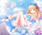 konachan-com-202012-blonde_hair-blue_eyes-boots-bow-clouds-flowers-headband-long_hair-original-panties-paper-rose-shoonear-sky-striped_panties-underwear