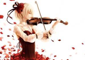 konachan-com-202166-blonde_hair-bouno_satoshi-corset-flowers-headband-instrument-original-petals-rose-short_hair-violin